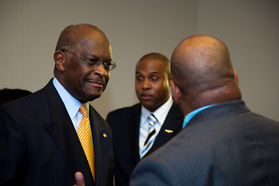 Herman Cain, National Radio Talk Show Host, joined more than a dozen African American conservatives gathered in Washington DC on August 4, 2010 to help the Tea Party Express fight back against accusations of racism.  (Photo by Jeff Malet)