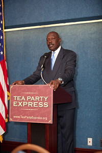 Mychal S. Massie, Chairman of Project 21, the National Leadership Network of Black Conservatives, was one of more than a dozen African American conservatives gathered in Washington DC on August 4, 2010 to help the Tea Party Express fight back against accusations of racism.  (Photo by Jeff Malet)
