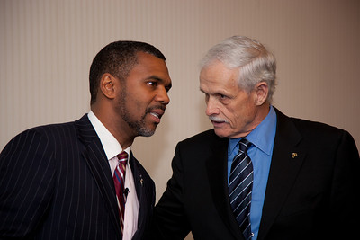 William Owens ofHigher Standard Publishers, was one of more than a dozen African American conservatives gathered in Washington DC on August 4, 2010 to help the Tea Party Express fight back against accusations of racism. Jim Martin ( on the right) represents the group 60 Plus, the conservative alternative to AARP. (Photo by Jeff Malet)