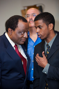 Alan Keyes (on left) was one of more than a dozen African American conservatives gathered in Washington DC on August 4, 2010 to help the Tea Party Express fight back against accusations of racism.  Keyes is a conservative political activist, author and a former diplomat in the Reagan Administration. (Photo by Jeff Malet)