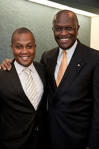 Talk radio host Herman Cain (on right) was one of more than a dozen African American conservatives gathered in Washington DC on August 4, 2010 to help the Tea Party Express fight back against accusations of racism. (Photo by Jeff Malet)