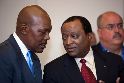 Mychal S. Massie and Alan Keyes joined more than a dozen African American conservatives gathered in Washington DC on August 4, 2010 to help the Tea Party Express fight back against accusations of racism.  Keyes is a conservative political activist, author and a former diplomat in the Reagan Administration. Mychal S. Massie is Chairman Project 21-The Nation Leadership Network of Black Conservatives.  (Photo by Jeff Malet)