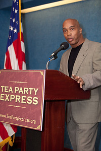 Kevin Jackson, author of Amazon best-selling book, The BIG Black Lie, President of the Black Conservative Coalition and The Black Sphere was one of more than a dozen African American conservatives gathered in Washington DC on August 4, 2010 to help the Tea Party Express fight back against accusations of racism.  (Photo by Jeff Malet)