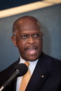 National radio talk show host Herman Cain was one of more than a dozen African American conservatives gathered in Washington DC on August 4, 2010 to help the Tea Party Express fight back against accusations of racism.  (Photo by Jeff Malet)