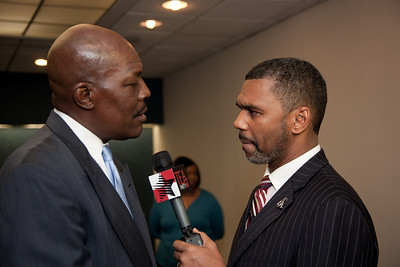 More than a dozen African American conservatives gathered in Washington DC on August 4, 2010 to help the Tea Party Express fight back against accusations of racism.  (L) Mychal S. Massie Chairman Project 21-The Nation Leadership Network of Black Conservatives (R) William Owens - Higher Standard Publishers (Photo by Jeff Malet)