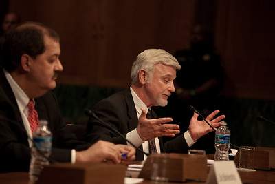 Cecil Roberts (right), International President United Mine Workers of America, testifies as Massey Energy CEO Don Blankenship (left) took his first congressional scolding since an explosion at one of his West Virginia coal mines killed 29 last month. They testified at a hearing of the Appropriations Subcommittee on Labor, Health and Human Services, and Education on May 20, 2010 on Capitol Hill in Washington DC. . ( Photo by Jeff Malet)