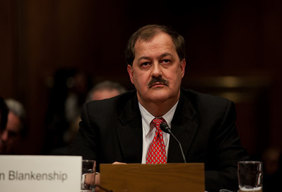 Massey Energy CEO Don Blankenship took his first congressional scolding since an explosion at one of his West Virginia coal mines killed 29 last month. He testified at a hearing of the Appropriations Subcommittee on Labor, Health and Human Services, and Education on May 20, 2010 on Capitol Hill in Washington DC. ( Photo by Jeff Malet)