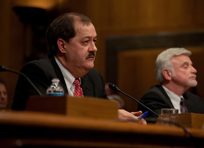 Massey Energy CEO Don Blankenship (right) took his first congressional scolding since an explosion at one of his West Virginia coal mines killed 29 last month. He testified at a hearing of the Appropriations Subcommittee on Labor, Health and Human Services, and Education on May 20, 2010 on Capitol Hill in Washington DC. Cecil Roberts, International President United Mine Workers of America is in background right. ( Photo by Jeff Malet)