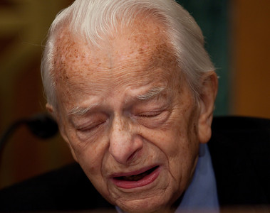 In a rare public appearance, 92-year-old Senator Robert Byrd, West Virginia Democrat, blasted Massey Energy and scoffed at CEO Don Blankenship's repeated insistence that Massey puts safety first in its mines. Blankenship testified at a hearing of the Appropriations Subcommittee on Labor, Health and Human Services, and Education on May 20, 2010 on Capitol Hill in Washington DC.  It was Blankenship's first Congressional appearance since an explosion at one of his West Virginia coal mines killed 29 the month prior (Photo by Jeff Malet)