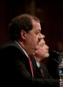 Massey Energy CEO Don Blankenship (left) took his first congressional scolding since an explosion at one of his West Virginia coal mines killed 29 last month. He testified at a hearing of the Appropriations Subcommittee on Labor, Health and Human Services, and Education on May 20, 2010 on Capitol Hill in Washington DC. Cecil Roberts, International President United Mine Workers of America is in background. ( Photo by Jeff Malet)
