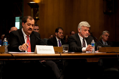 Massey Energy CEO Don Blankenship (left) took his first congressional scolding since an explosion at one of his West Virginia coal mines killed 29 last month. Cecil Roberts (right), International President United Mine Workers of America, also testified at a hearing of the Appropriations Subcommittee on Labor, Health and Human Services, and Education on May 20, 2010 on Capitol Hill in Washington DC. . ( Photo by Jeff Malet)