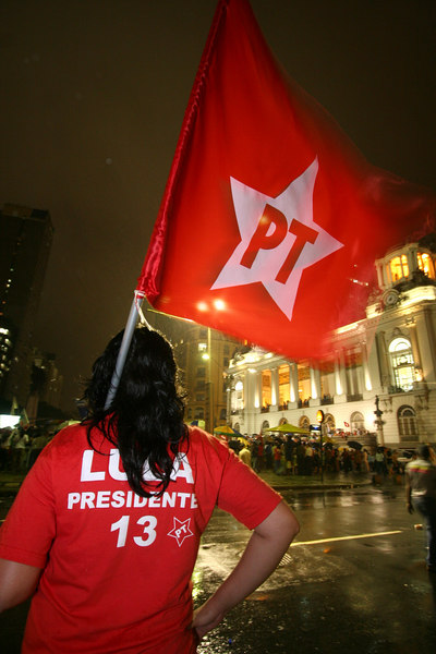 Supporters of Brazilian President Luiz Inacio Lula da Silva at a re-election campaign rally in Rio de Janeiro October 17, 2006. Lula da Silva widened his lead over rival Geraldo Alckmin and would win re-election on October 29, a senior source in Lula's Workers Party said on Tuesday, citing upcoming poll figures.(AustralFoto/Douglas Engle)