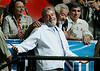 Brazilian President Luis Inacio Lula da Silva reacts to the crowd during a campaign rally in Belo Horizonte, capital of the southeastern state of Minas Gerais, Brazil, 2006. In spite of a series of corruption scandals which have stained his images, opinion polls show that Lula should win in the first round of the Oct. 1, 2006 election.(Australfoto/Douglas Engle)