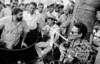 Brazilian leftist leader and presidential candidate of Partido dos Trabalhadores, PT, Inacio Lula da Silva listen to tipical musicians during electoral campaign  at S. Cristovao fair, Rio de Janeiro, Brazil, Oct. 08 , 1989. (Austral Foto/Renzo Gostoli)