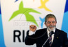 Brazil's President Luiz Inacio Lula da Silva, speaks during the presentation of the Pan American Games 2007 mascot at Forte de Copacabana, Rio de Janeiro, Brazil, July 13, 2006. The Organizing Committee of the XV Pan American Games Rio 2007 (CO-RIO) is presenting the Mascot of the 2007 Rio Games, which is the sun. The Pan Am Games involve athletes from the Caribbean, North, Central and South America. (Australfoto/Renzo Gostoli)