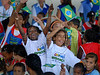Childs of Pavao-Pavaozinho slum complex participate at the cermony where the Brazilian President Luiz Inacio Lula da Silva inaugurates a multibillionnaire dollar work's program for the city's poor communities, Rio de Janeiro, Brazil, Nov. 30, 2007.  (Australfoto/Renzo Gostoli)