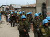 Brazilian troops patrol in Haiti as part of the UN peace-keeping mission. The Brazilian military, with 1,300 troops in the Caribbean nation, leads a force of 7,000 UN troops there since 2004. The mission is part of an effort by Brazil to take a larger role on the international stage - which some analysts say is a part of Brazil's desire for a seat on an eventual larger UN security council. Brazil has also accepted Palestinian refugees from Iraq. (Australfoto/Tom Phillips)<br /> STORY AVAILABLE
