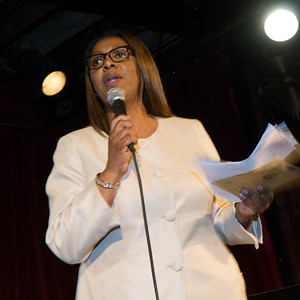 The Public Advocate, Tish James, addresses the gathering and pledged to do everything in her power to protect communities from theTrump assault on civil liberties.