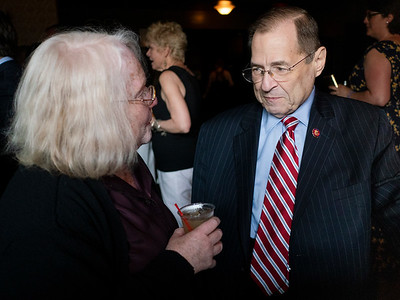 """Carolyn """"Rusti"""" Eisenberg chats with Chairman Nadler. They were both students at Columbia during the turbulent days of the 60's."""