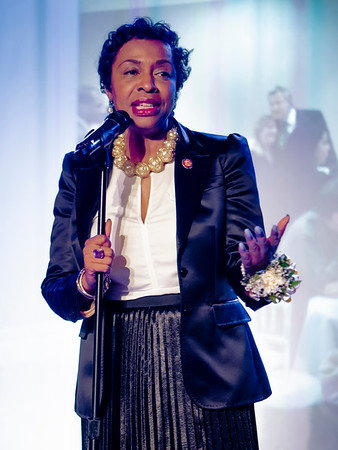 Representative Yvette Clarke made a stirring speech that excoriated the Trump administration for it cruel, anti-human policies. She was greeted with anovation from the dinner attendees.