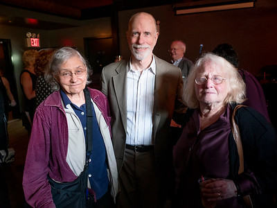 """Part of the """"friends of peace' table. Left to right: Dr. Charlotte Phillips, Chair of Brooklyn For Peace, Don Bickford and BFP Vice-Chair, Rusti Eisenberg."""