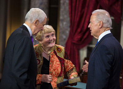 Senator Orrin Hatch (R-UT), joined by wife Elaine, is sworn in by Vice President Joe Biden. The ceremonial event took place in the Old Senate Chamber inside the U.S. Capitol Building in Washington D.C. on January 3, 2013. The official swearing-in ceremony took place earlier in the Senate chambers on the opening day of the 113th Congress. (Photo by Jeff Malet).