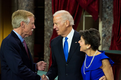 U.S. Sen. Angus King (I-ME) (left) and wife, Mary Herman participate in a reenacted swearing-in with Vice President. The ceremonial event took place in the Old Senate Chamber inside the U.S. Capitol Building in Washington D.C. on January 3, 2013. The official swearing-in ceremony happened earlier in the Senate chambers on the opening day of the 113th Congress. (Photo by Jeff Malet).