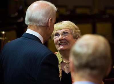 Vice President Joe Biden chats with Elaine Hatch, wife of Senator Orrin Hatch (R-UT) prior to a ceremonial swearing-in ceremony for her husband. The event took place in the Old Senate Chamber inside the U.S. Capitol Building in Washington D.C. on January 3, 2013. The official swearing-in ceremony took place earlier in the Senate chambers on the opening day of the 113th Congress. (Photo by Jeff Malet).