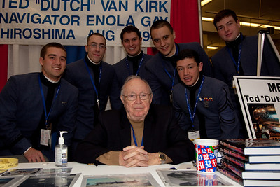 """Theodore """"Dutch"""" Van Kirk with cadets from The Citadel. Van Kirk was the navigator for the special crew of the Enola Gay, the B-29 Superfortress Bomber captained by Paul Tibbets Jr. that dropped an atomic bomb on Hiroshima, Japan, on Aug. 6, 1945."""