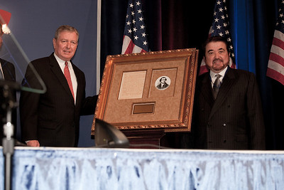 Brad O'Leary presents John Ashcroft with the Defender of the Constitution Award