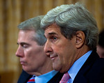 Supercommittee members Senator Rob Portman (R-OH) (left) and Senator John Kerry (D-MA) listen to testimony. Congress' Joint Select Committee on Deficit Reduction, also known as the Supercomm ...