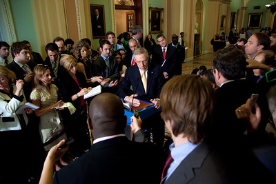 "Senate Majority Leader Harry Reid (D-NV) takes questions from reporters after the Democratic policy luncheon on June. 7, 2011, on Capitol Hill in Washington DC.  When asked about Rep. Anthony Weiner's revelations of sexual indiscretions and then lying about them, Reid said ""I wish there were some way I could defend him, but I can't"". When Reid was asked what he would tell the congressman if Weiner called seeking advice, he replied, ""Call somebody else.""  (Photo by Jeff Malet)"