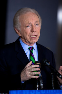 """Senator Joe Lieberman (I-CT) stops to talk to the press following his appearance on ABC's """"This Week With with Christiane Amanpour"""" on Sunday, January 23, 2011 at the Newseum in Washington DC. Earlier in the week Lieberman announced he wouldn't be seeking reelection to the Senate in 2012 but will instead retire. First elected to the Senate in 1988, Lieberman was elected to a fourth term on November 7, 2006 as a third party candidate. (Photo by Jeff Malet)"""