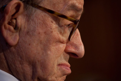 Former Federal Reserve Chairman Alan Greenspan testifies at a hearing of the Senate Finance Subcommittee on Fiscal Responsibility and Economic Growth hearing on deficits, with testimony from Greenspan, former Treasury Undersecretary John Taylor, former Reagan economic adviser Martin Feldstein, former Michigan Gov. John Engler, and Edward Kleinbard, former chief of staff of the Joint Committee on Taxation. The hearing took place on Tuesday September 13, 2011 on Capitol Hill in Washington DC. The panelists were questioned on whether changing the tax code could help reduce the federal deficit. Senator Bill Nelson (D-FL), chaired the hearing, Greenspan told the subcommittee that he supports eliminating what he called unnecessary tax breaks in order to help cut the deficit and avoid a federal budget crisis, and that tax cuts that are paid for by borrowing are undesirable. He also said entitlement spending is a major contributor to the debt and that it will only get worse as the population ages. He also said that there is no credible way to control the government's debt without inflicting pain on the economy. (Photo by Jeff Malet)