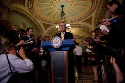 """Senate Majority Leader Harry Reid (D-NV) takes questions from reporters after the Democratic policy luncheon on June. 7, 2011, on Capitol Hill in Washington DC.  When asked about Rep. Anthony Weiner's revelations of sexual indiscretions and then lying about them, Reid said """"I wish there were some way I could defend him, but I can't"""". When Reid was asked what he would tell the congressman if Weiner called seeking advice, he replied, """"Call somebody else.""""  (Photo by Jeff Malet)"""