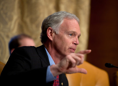 Senator Ron Johnson (R-WI) questions Douglas Elmendorf, the director of the Congressional Budget Office, at his testimony on the budget and economic outlook before the Senate Budget Committee on Thursday January 27, 2011 on Capitol Hill in Washington DC. The CBO estimated that week that the deficit for fiscal year 2011 would grow to $1.5 trillion and in 10 years. (Photo by Jeff Malet)
