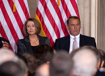 House Minority Leader Nancy Pelosi  and Speaker John Boehner share the stage during the celebration of the 50th anniversary of John F. Kennedy's inaugural address. The event was marked with speeches celebrating Kennedy's famous call on Americans to serve their country. Vice President Joe Biden and JFK's daughter Caroline Kennedy were among the other speakers at the ceremony in the central Rotunda of the United States Capitol held a half-century after Kennedy's 1961 address, on January 20, 2011 in Washington DC  (Photo by Jeff Malet)