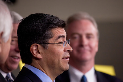 Rep. Xavier Becerra (D-CA) answers reporters' questions at a press conference about the Republican controlled House's inability to pass the Social Security payroll tax extension, on Capitol Hill in Washington D.C. on December 22, 2011. Also appearing at the press conference, were  Minority Whip Steny Hoyer (D-MD),  Rep. Sandy Levin (D-MI) and Rep. Chris Van Hollen (D-MD).  (Photo by Jeff Malet)