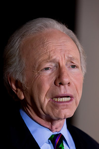 "Senator Joe Lieberman (I-CT) stops to talk to the press following his appearance on ABC's ""This Week With with Christiane Amanpour"" on Sunday, January 23, 2011 at the Newseum in Washington DC. Earlier in the week Lieberman announced he wouldn't be seeking reelection to the Senate in 2012 but will instead retire. First elected to the Senate in 1988, Lieberman was elected to a fourth term on November 7, 2006 as a third party candidate. (Photo by Jeff Malet)"