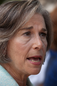 "Rep. Jan Schakowsky (D - IL) spoke at a rally held outside the Capitol Building in Washington D.C.on Thursday, July 28, 2011. The rally to ""Save the American Dream"" was organized to tell Democrats to stand strong against Republican debt ceiling proposals that cut Social Security, Medicare and Medicaid while keeping keep tax breaks for millionaires, billionaires and oil companies. Participants included major labor unions such as AFSCME, CWA, AFGE, Teamsters, and various progressive groups such as Move-On, Rebuild the Dream, Jobs with Justice, Gray-Panthers and Code-Pink. (Photo by Jeff Malet)"