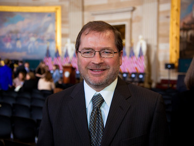 Grover Norquist attends a ceremony marking the 50th anniversary of John F. Kennedy's inaugural address in the central Rotunda of the United States Capitol Rotunda on January 20, 2011 in Washington DC. He is president of taxpayer advocacy group Americans for Tax Reform. (Photo by Jeff Malet)