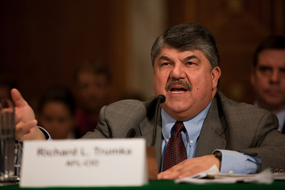 "AFL-CIO President Richard Trumka. In a rare joint appearance on Capitol Hill, US Chamber of Commerce President Thomas Donohue and Trumka stood united to promote jobs legislation and transportation infrastructure. Both testified at the Senate Environment and Public Works Committee Hearing titled ""National Leaders' Call to Action on Transportation.""  Following President Obama's State of the Union address, Trumka and Donohue had issued a joint statement endorsing Obama's call ""to create jobs and grow our economy through investment in our nation's infrastructure."" In Washington DC on Wednesday, February 16, 2011.(Photo by Jeff Malet)"