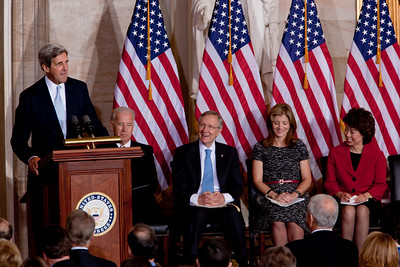 Senator John Kerry (D-MA) speaks at the 50th anniversary of John F. Kennedy's inaugural address. The event was marked with speeches celebrating Kennedy's famous call on Americans to serve their country. Vice President Joe Biden, Senate Majority Leader Harry Reid (D-NV), JFK's daughter Caroline Kennedy and former Labor Secretary Elaine Chao were among the speakers at the ceremony in the central Rotunda of the United States Capitol held a half-century after Kennedy's 1961 address. Many members of the extended Kennedy Family were in attendance. January 20, 2011 in Washington DC  (Photo by Jeff Malet)