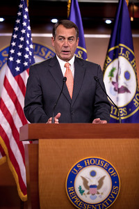"""At a press conference on Capitol Hill, a combative House Speaker John Boehner (R-OH) said he will not agree to a short-term government spending bill without budget cuts. Paraphrasing the 41st president, Republican George H.W. Bush, Boehner ended the press conference stating that """"When we say we're going to cut spending, read my lips, We're going to cut spending.""""  The event took place in Washington DC on Thursday, February 17, 2011. (Photo by Jeff Malet)"""
