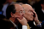 Former Clinton Chief of Staff Erskine Bowles (left) and former Senator Alan Simpson (R-WY) testifiy. Congress' Joint Select Committee on Deficit Reduction, also known as the Supercommittee,  ...