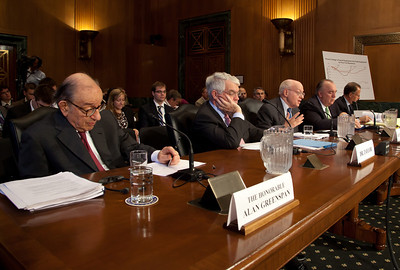 The Senate Finance Subcommittee on Fiscal Responsibility and Economic Growth holds a hearing on deficits, with testimony from (left to right in photo) former Federal Reserve Chairman Alan Greenspan, former Treasury Undersecretary John Taylor, former Reagan economic adviser Martin Feldstein, former Michigan Gov. John Engler, and Edward Kleinbard, former chief of staff of the Joint Committee on Taxation. The hearing took place on Tuesday September 13, 2011 on Capitol Hill in Washington DC. The panelists were questioned on whether changing the tax code could help reduce the federal deficit. Greenspan told the subcommittee that he supports eliminating what he called unnecessary tax breaks in order to help cut the deficit and avoid a federal budget crisis, and that tax cuts that are paid for by borrowing are undesirable. He also said entitlement spending is a major contributor to the debt and that it will only get worse as the population ages. He also said that there is no credible way to control the government's debt without inflicting pain on the economy. (Photo by Jeff Malet)