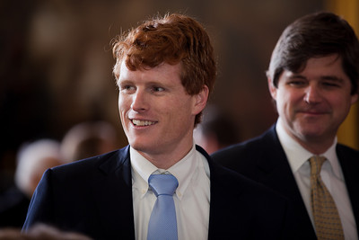 Joseph Patrick Kennedy III attends a ceremony marking the 50th anniversary of John F. Kennedy's inaugural address in the central Rotunda of the United States Capitol on January 20, 2011 in Washington DC. Joseph P. Kennedy III, who is the son of former Rep. Joseph P. Kennedy II (D-MA) and the grandson of the late Robert F. Kennedy, served in the Peace Corps before earning his law degree at Harvard and is currently an assistant district attorney in Cape Cod working in Michael O'Keefe's office.  (Photo by Jeff Malet)