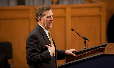 Senator Jim DeMint (R-SC) speaks at the first meeting of the Senate Tea Party Caucus on Thursday January 27, 2011 on Capitol Hill in Washington DC. (Photo by Jeff Malet)