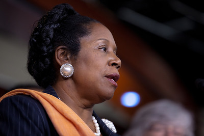 Rep. Sheila Jackson Lee (D-TX) and other members of the Congressional Progressive Caucus came out against the debt ceiling deal of President Barack Obama and congressional leadership. At a press conference on Capitol Hill in Washington DC on August 1, 2011. (Photo by Jeff Malet)