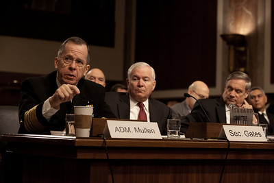 Chairman of the Joint Chiefs of Staff, Admiral Michael Mullen; Secretary of Defense Robert Gates; and Secretary Under Secretary of Defense Robert Hale testify before the Senate Armed Services Committee on Defense Authorization on Capitol Hill in Washington DC on Thursday, February 17, 2011. (Photo by Jeff Malet)